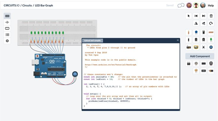 123D Circuits is a website where users can design and simulate circuit boards with a breadboard, schematic and PCB editor. Users can also share designs and collaborate as a team.