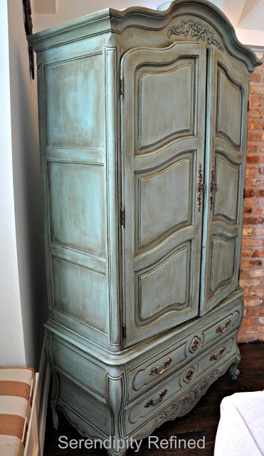 Serendipity Refined: Free Help with YOUR DIY Project #2: Nancy's Chalk Painted Cabinet Makeover