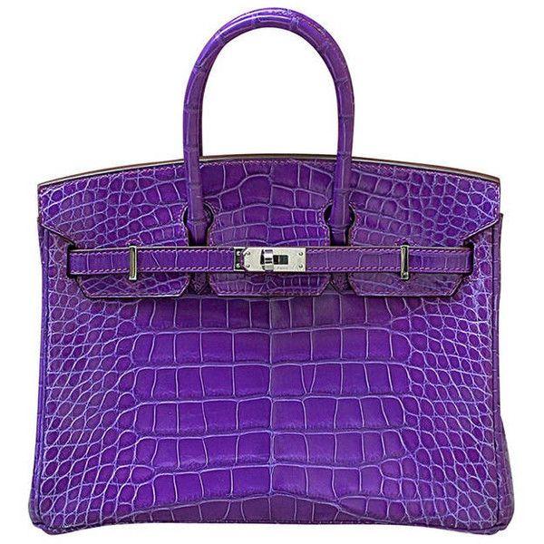 HERMES Birkin crocodile purple 25cm 2014 ($56,500) ❤ liked on Polyvore featuring bags, handbags, borse, purses, purple crocodile handbag, croc embossed handbags, hermès, hermes handbags and purple purse