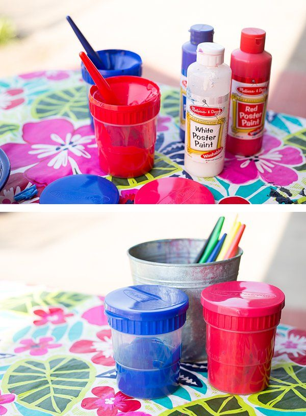 We love these spill proof paint cups from Melissa & Doug - each color of poster paint gets a dedicated brush. When the children are done painting, simply pop the lid on to keep the paint fresh for another day. *So cool