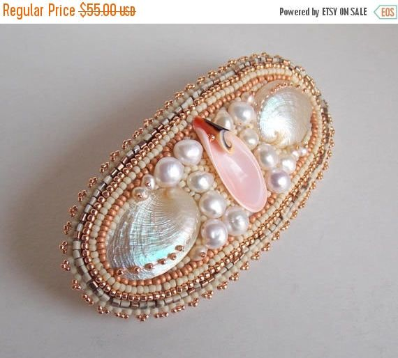 Summer sale Barrette , Summer jewelry, Sea shell hair clip, Bead embroidery, Freshwater pearl, Abalone shell, Seed bead jewelry, Free shippi by vicus. Explore more products on http://vicus.etsy.com