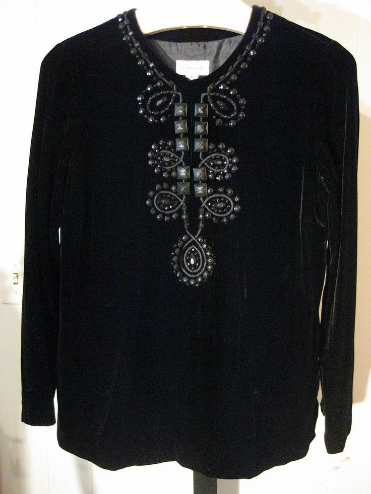 PETITE BLACK VELVET BEADED TUNIC TOP TALBOTS 8P $149 #Talbots #Tunic