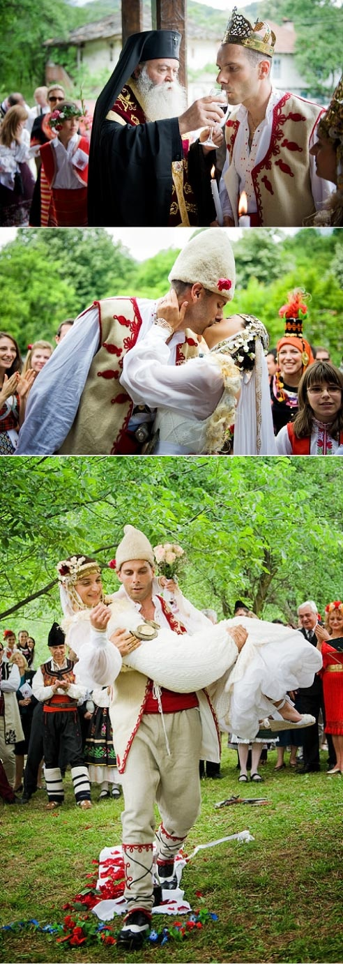 Bulgarian traditional wedding; The bride's headdress is awesome.