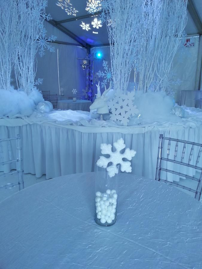 Winter Wonderland decor idea www.themodernjewishmitzvah.com