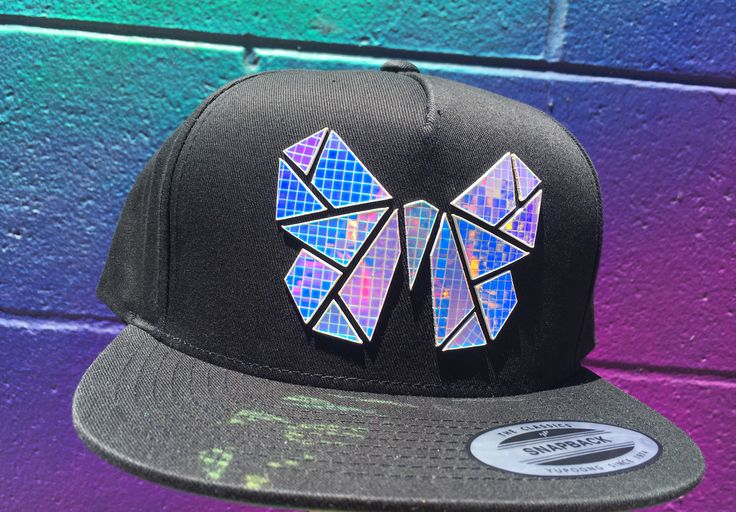 Holographic   Butterfly Hat   SnapBack   Rave Accessory   Rave Clothing   Rave   EDC  