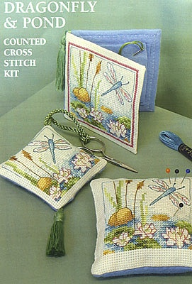Dragonfly and pond needlebook, pincushion and scissors fob