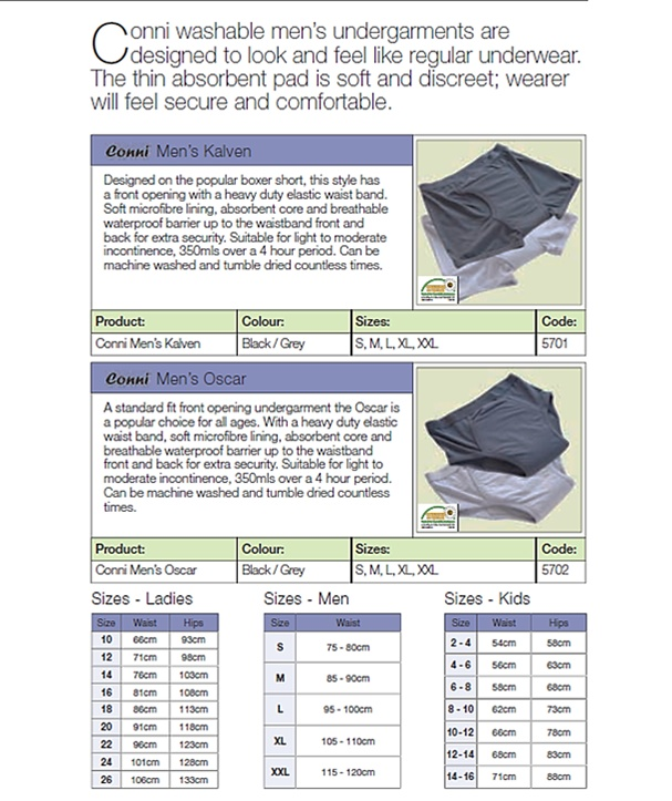 Adult Incontinence Gents Undergarments  Western Cape, South Africa    Contact Conni-Western Cape (Pty) Ltd.  Adult Incontinence Products  Western Cape, South Africa  Call: 081 772 6015  Email: JP.vZ@Conni.co.za