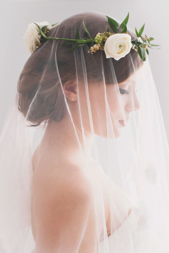 This is exactly how I would wear a flower crown and veil - beautiful!