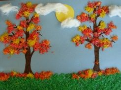 Fall tissue paper trees