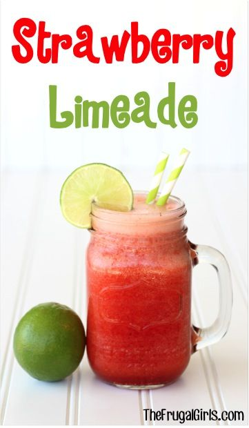 Strawberry Limeade Recipe! ~ from TheFrugalGirls.com ~ drop the FUN bomb on your next party with easy, delicious summer beverage! #lime #recipes #thefrugalgirls