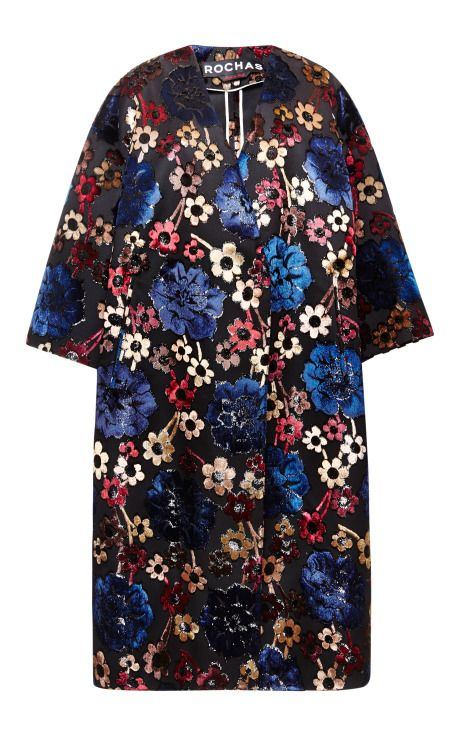 Hand-Painted Jacquard Flowers Coat by Rochas - Moda Operandi