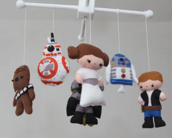 Baby Crib Mobile - Star Wars Mobile - Nursery Star Wars Mobile - Darth Vader,Yoda, R2D2,BB-8 Droid