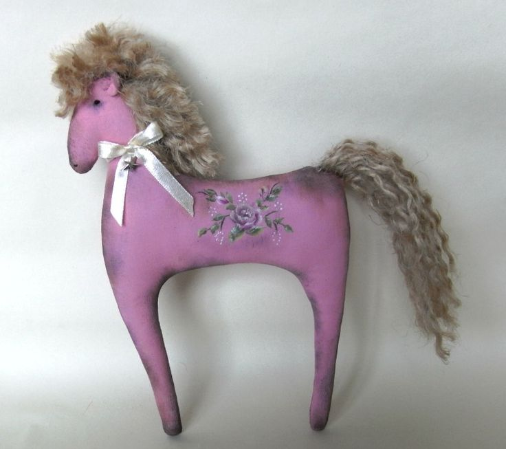 Handcrafted pink painted pony with roses by The Christmas Den on Etsy.