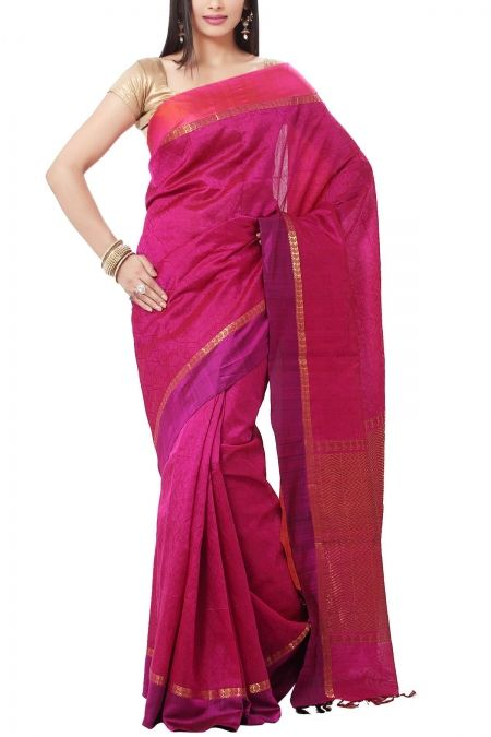 Pink & Fuchsia Self Woven Kanchi Pure Cotton Silk Saree