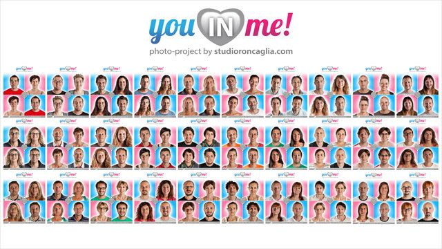 """The photographic project """"You in Me!"""" is born to be ironical about one of the most typical and frequent feature of loving couples: they lose themselves in one another.  60 people (30 loving couples) accepted to participate in this project/experiment in order to see and recognize their faces in a totally new vision, which is at the same time madly familiar.  Enjoy it and have a good time!  Project author Fabio Roncaglia All Right Reserved © Fabio Roncaglia - http://www.studioroncaglia.com"""