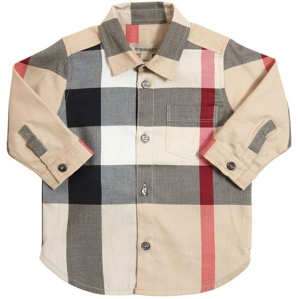 BURBERRY Check Cotton Twill Herringbone Shirt ($160) ❤ liked on Polyvore featuring baby clothes, kids and beige