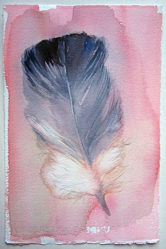Aquarel schilderen / minimalistische kunst feather / Fantasy