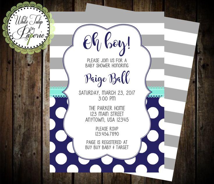 Navy and Gray Baby Shower Invitation, Boy Baby Shower Invitation, Stripe and Polka Dot Baby Shower Invitation, Gray and Blue Invitation by WhiteTulipPaperie on Etsy https://www.etsy.com/listing/491900884/navy-and-gray-baby-shower-invitation-boy