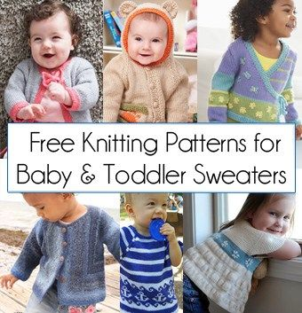16 Free Baby and Toddler Sweater Knitting Patterns including cardigans, pullovers, jackets and more http://intheloopknitting.com/free-baby-and-child-sweater-knitting-patterns/