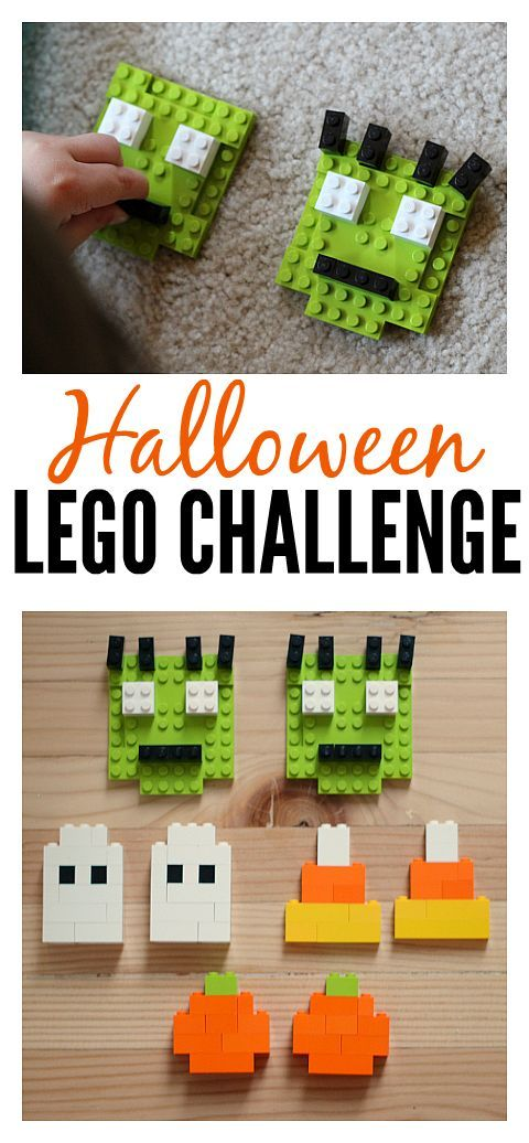 Halloween Lego Challenge - simple Lego patterns to duplicate and work on fine motor skills.