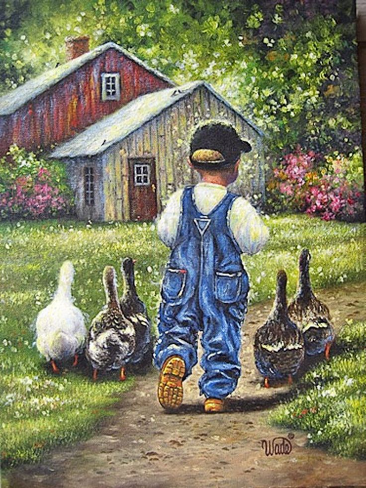 Boy in overalls with geese. Wade.