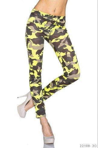 Εφαρμοστό στρατιωτικό leggings - Κίτρινο Καμουφλάζ