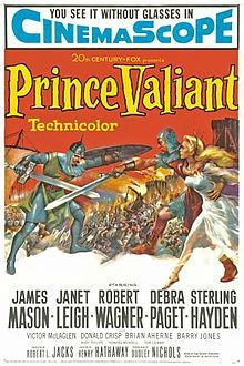 Prince Valiant (1954) Robert Wagner, James Mason, Janet Leigh. The comic-strip hero, an exiled Viking, joins King Arthur's Camelot, loves Princess Aleta, has a Singing Sword and unmasks the Black Knight. From 1937 Hal Foster comics.