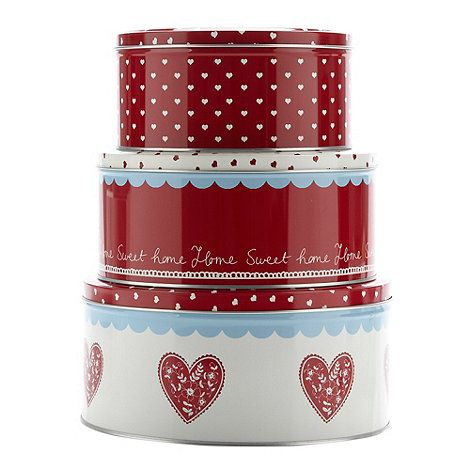 At home with Ashley Thomas Set of three round heart cake tins- at Debenhams.com
