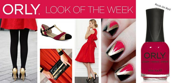 Gold, black & red con Smalto ORLY Rock On Red http://shop.smaltiorly.it/catalogo/prodotti_dettaglio.asp?brand=orly&cat=smalti&subcat=colori-classici&art=or40252-rock-on-red&page=1