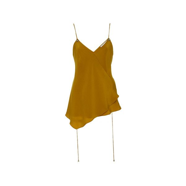 Prabal Gurung     Cami Blouse (28,770 PHP) via Polyvore featuring tops, blouses, brown cami top, silk camisole, cami top, silk cami and brown tops