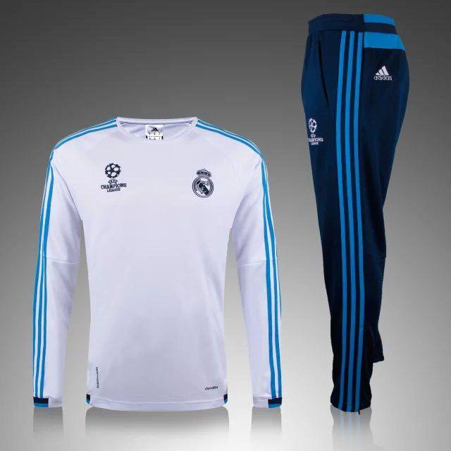 boutique football Official Nouveau Champions league Survetement de foot Real Madrid Blanc 2015 2016 pas cher
