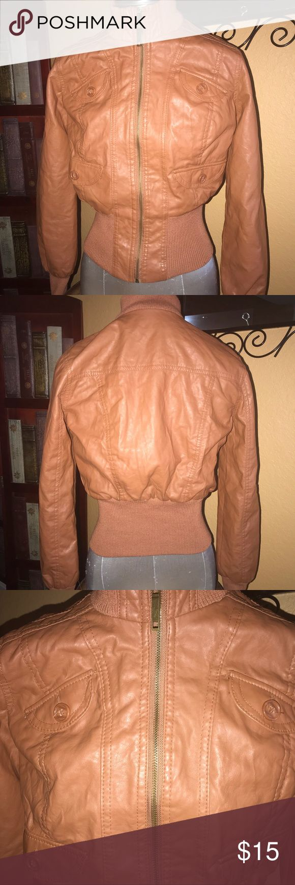 Charlotte Russe faux leather flight jacket brown S Cute jacket light brown fitted flight style faux leather Charlotte Russe Jackets & Coats Puffers