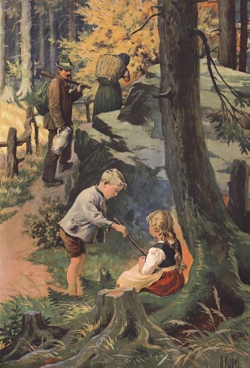 Hänsel & Gretel 2. von 6 Faksimiles im Wald allein O. Kübel Rarität Märchen 5b - Billerantik