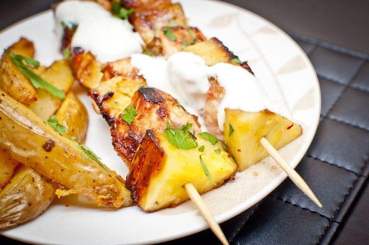 Pineapple and salmon kebabs. Yogurt& lemon dip.