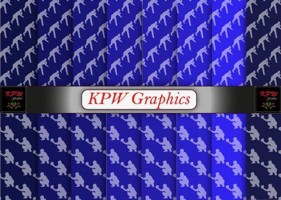 Baseball Players 2 types Blue Digital Printable by KPWgraphics