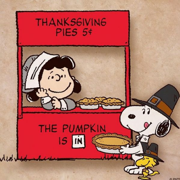 The pumpkin is in. Lucy Van Pelt and Snoopy for Thanksgiving.