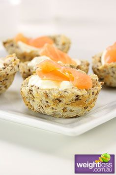 Healthy Entertaining Recipes: Smoked Salmon and Chive Baskets. #HealthyRecipes #DietRecipes #WeightlossRecipes weightloss.com.au