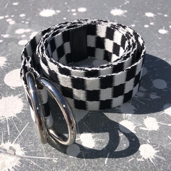 Checked Out Black /& White Skater Belt