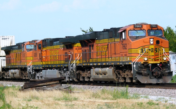 A BNSF double stack container train stopped on the mainline south of Claremore, Oklahoma.