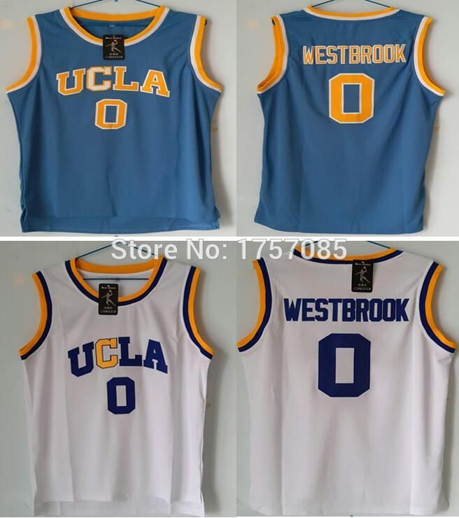 Vente UCLA 0 # Russell Westbrook Crenshaw Bleu Blanc Accueil Route Hommes Régression de Basket-Ball Jersey Piqué Broderie Logos S-XXXL