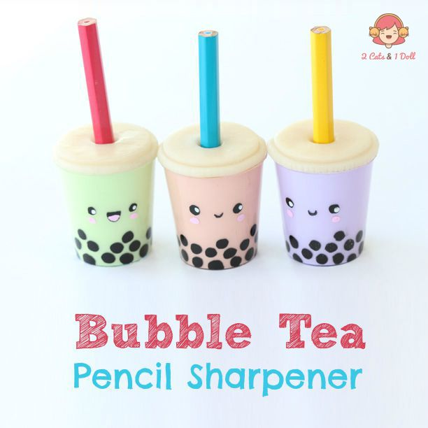 Bubble Tea Pencil Sharpener - polymer clay tutorial by 2 Cats & 1 Doll. I love her diys!