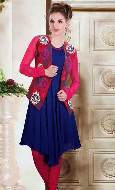 USD 82.79 Blue Designer Kurti with Pink Koti    34970