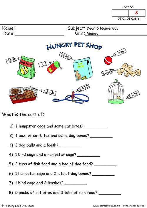 PrimaryLeap.co.uk Money Worksheet Money worksheets