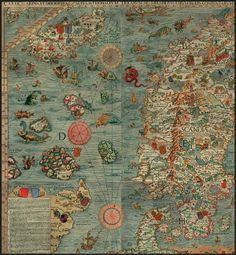 Maps and Monsters by Marina Warner: A detail of the northwest portion of the 'Carta Marina,' the map of Scandinavia and Iceland produced between 1527 and 1539 by Olaus Magnus #Maps #Geo