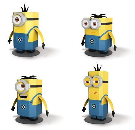Despicable Me 2 Minions Paper Craft Template Download