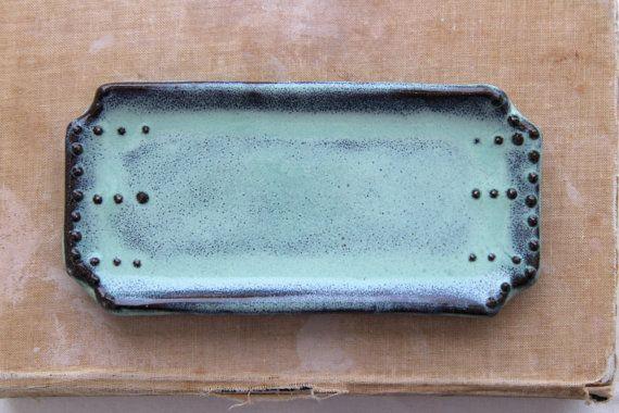 Rustic Spoon Rest in Aqua Mist Soap Dish by BackBayPottery