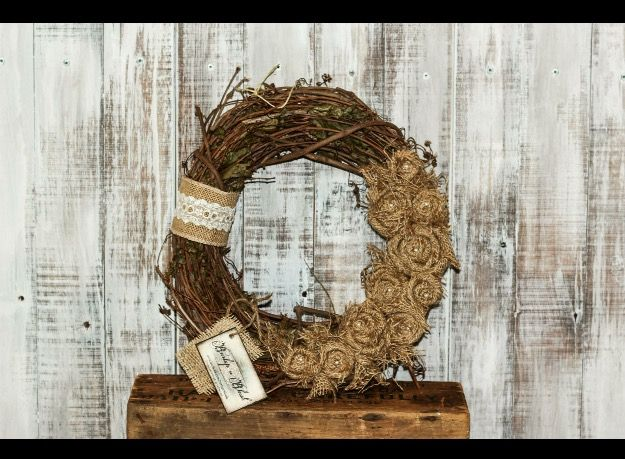 """14"""" grapevine wreath adorned with natural burlap rosettes with pearl pins in centers. #fall #grapevine"""
