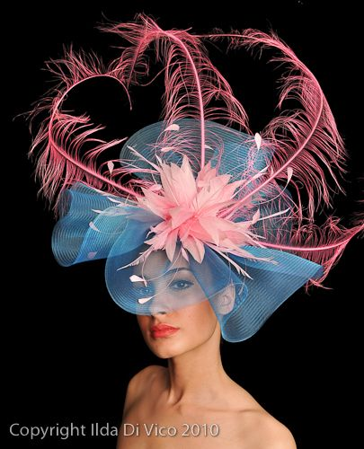 H002 Turquoise Crin with Pink Feathers. Colour Match Available. Best Hat Ladies Day 2006