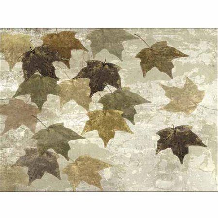 Neutral Distressed Textured Falling Leaves Nature Painting Tan & Brown Canvas Art by Pied Piper Creative, Beige