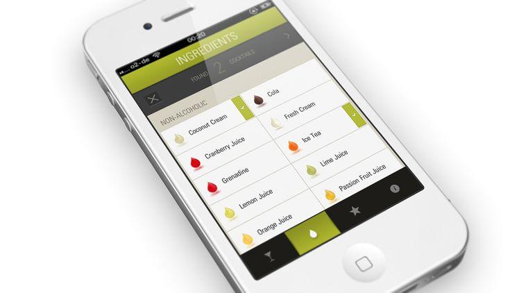 Mobile App design for crafting cocktails